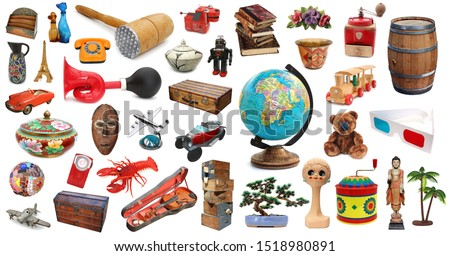 Set of various objects isolated on white background
