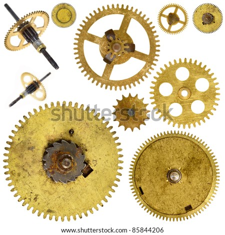 Set of various old cogwheels - gears - on white background