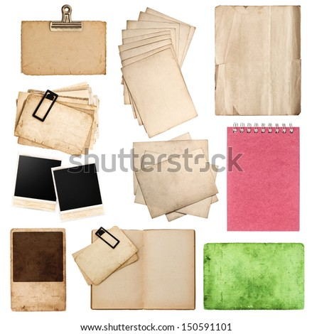 set of various old paper sheets and pictures vintage photo album and book pages cards pieces isolated on white background