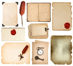 set of various old paper sheets. vintage book pages, cards, photos, pieces isolated on white background. antique vintage accessories ink pen and wax seal