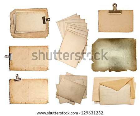 set of various old paper sheets. vintage photo album and book pages, cards, pieces isolated on white background