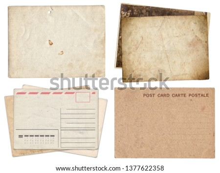 Set of various Old papers and postcards with scratches and stains texture isolated on white #1377622358