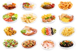 set of various plates of food isolated on white background