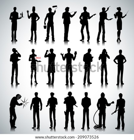 Set of various professions people silhouettes on abstract background