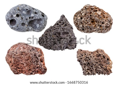 set of various Pumice rocks isolated on white background Stockfoto ©