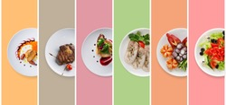 Set of various restaurant meals on colorful background. Collage of different main courses, meat and fish dishes with garnish, salads and desserts, business lunch concept, top view