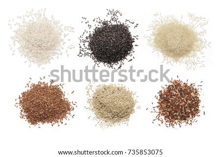 Set of various rice isolated on white background: glutinous, black, basmati, brown and red mixed rice. Top view. #735853075