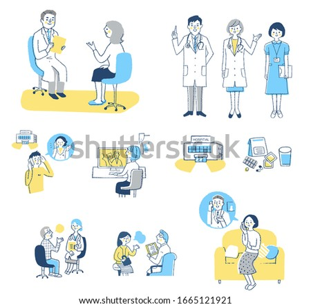 Set of various scenes of patients consulting with medical institutions Stock photo ©