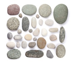 Set of various sea stones. Isolated on white background. Top view flat lay