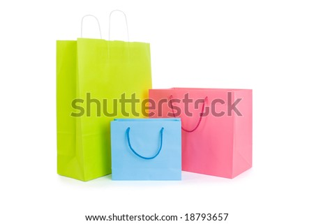 Set of various shopping bags isolated on white