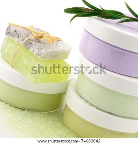 Set of various SPA cosmetics isolated on white background. - stock photo