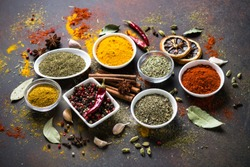 Set of Various spices and condiments on dark stone table. Chilly pepper, rosemary, basil, turmeric, paprika, garlic, anise, cinnamon and other.