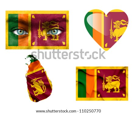 Set of various Sri Lanka flags