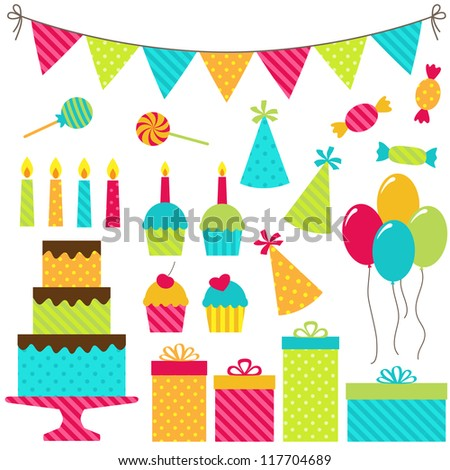 Set of vector birthday party elements. Raster version.