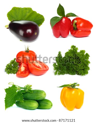 Set of vegetable fruit isolated on white background - tomato, cucumber, parsley, pepper and eggplant
