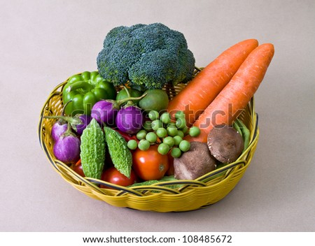 set of vegetable in basket, healthy concept - stock photo