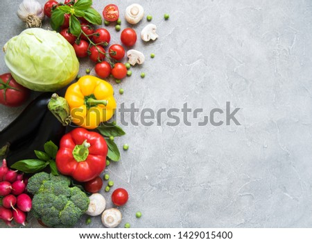 Set of vegetables on a concrete background #1429015400