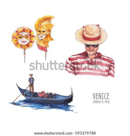 set of venice  mask  gondola...