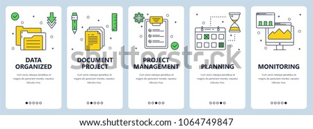 Set of vertical banners with Data organized, Document project, Project management, Planning, Monitoring website templates. Modern thin line flat style design.