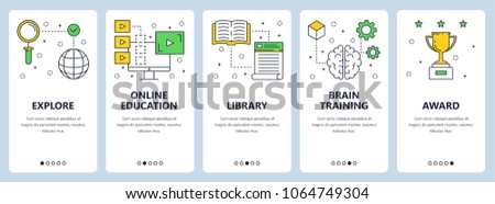 Set of vertical banners with Explore, Online education, Library, Brain training, Award website templates. Modern thin line flat style design.