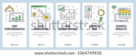 Set of vertical banners with SEO performance, SEO targeting, SEO monitoring, Mobile SEO and Search results website templates. Modern thin line flat style design.
