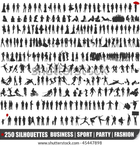 Set of 250 very detailed silhouettes