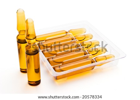 set of vials on white background