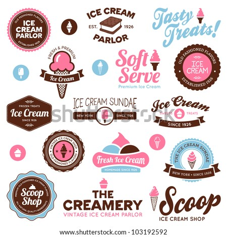 Set of vintage and modern ice cream shop badges and labels