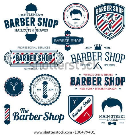 Set Of Vintage Barber Shop Graphics And Icons Stock Photo 130479401 ...