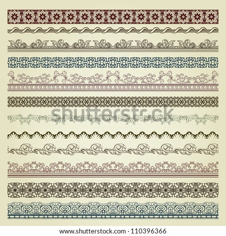 Set of vintage borders. Could be used as divider, frame, etc #110396366