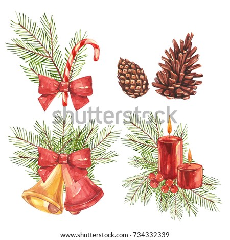 Set of Vintage Christmas illustrations. Christmas candle, tree and decorations. Watercolor design isolated on white background. #734332339