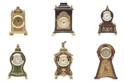 Set of vintage clock on white background