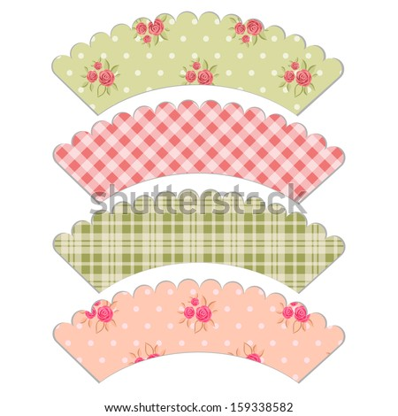 Set Of Vintage Cupcake Wrapper Templates With Roses In