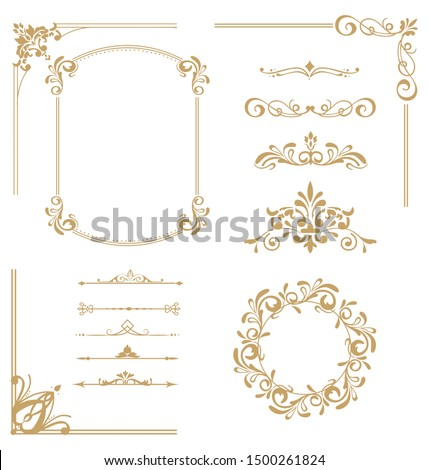 Set of vintage elements. Frames, dividers for your design. Golden Components in royal style. Elements for design menus, websites, certificates, boutiques, salons, etc.