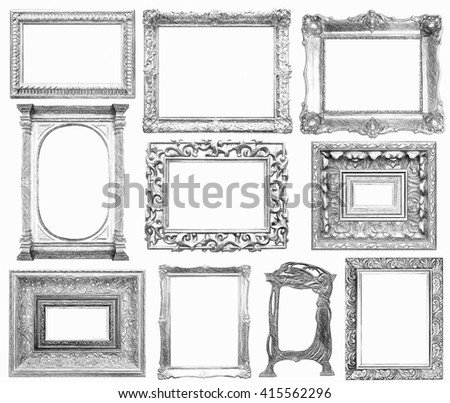 Set of vintage frame in draw, sketch style