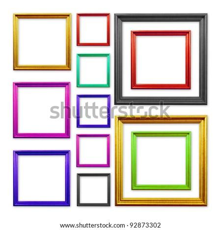 Set of Vintage frame isolated on white background - stock photo