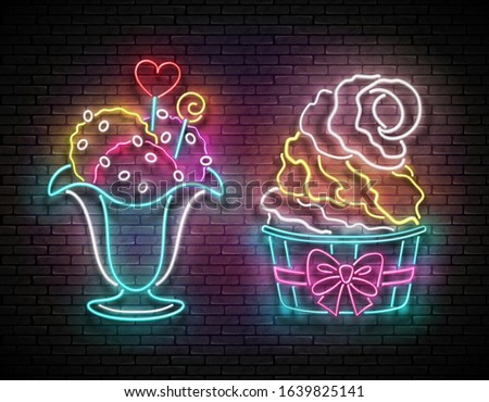 Set of Vintage Glow Signboards with Ice Cream Balls in Vase and Popsicle in Cup, Candies Decor. Cafe Flyer Template. Neon Light Poster, Banner. Brick Wall. 3d Illustration