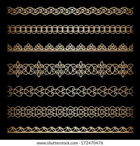 Set of vintage gold borders, ornamental dividers on black background, raster illustration #172470476