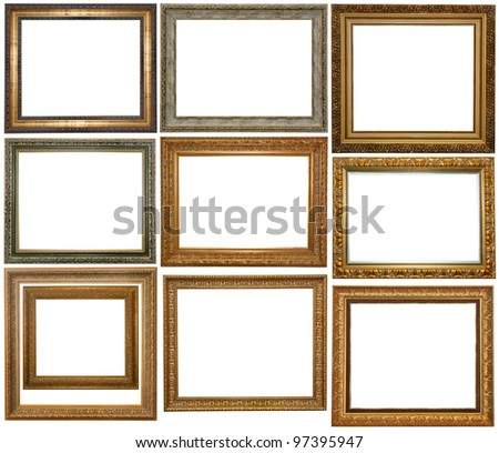 Set of Vintage gold picture frame and silver, isolated with clipping path