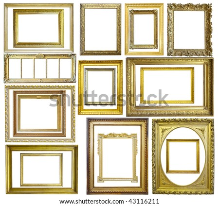 Set of  20 Vintage gold picture frame, isolated with clipping path