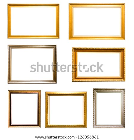 Set of vintage golden and silver picture frame isolated on white background