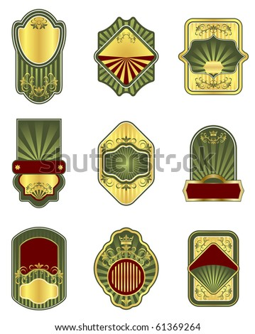 Set of vintage golden labels. Vector version also available in gallery