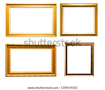 Set of vintage golden picture frame isolated on white background