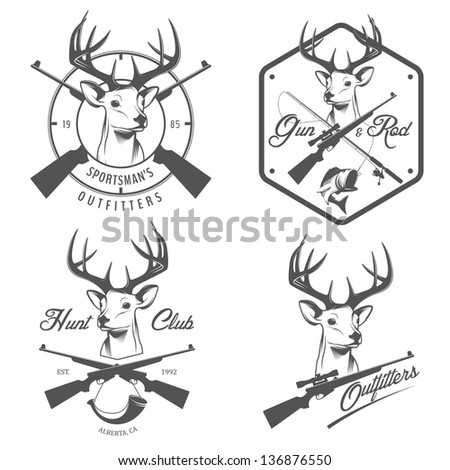 Set of vintage hunting and fishing logo, labels and badges