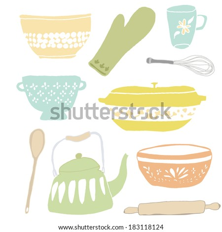Set of Vintage Kitchen Cookware and Utensils Including Vintage Coffee Pot, Wooden Spoon, Baking Ware, and Rolling Pin