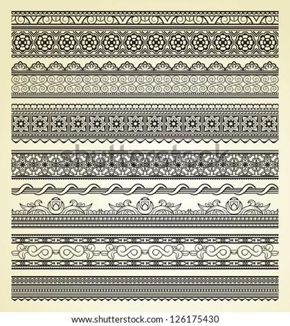 Set of vintage lines on beige background #126175430