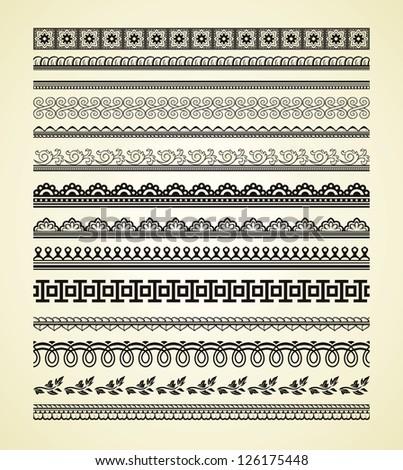 Set of vintage lines on beige background #126175448
