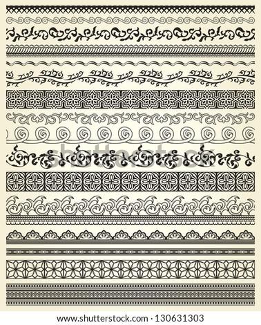 Set of vintage lines on beige background #130631303