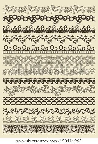 Set of vintage lines on beige background  #150111965