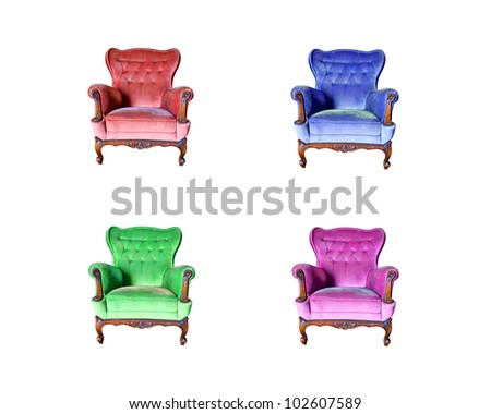 set of vintage luxury armchair isolated